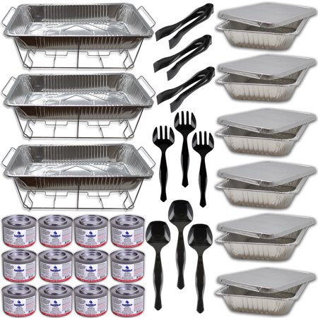 Platter Cover - 3 Buffet Serving Set W/Fuel- Wire Racks, Water Pans, Half Size Food Pans w/covers, Serving Spoons, Forks, Tongs, 12 Fuel Cans (2.5 hrs each)-Disposable Chafing Dish Catering Supplies trays and warmers