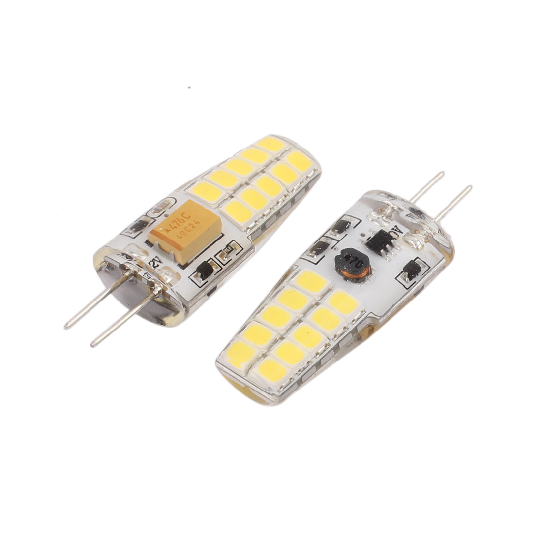 2 Pcs /DC12V 4W SMD  Light Bulb Silicone Lamp 20- G4 2835 Cold White - image 2 de 2