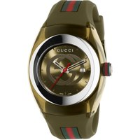Gucci Unisex Green Swiss Sync Striped Rubber Strap Watch