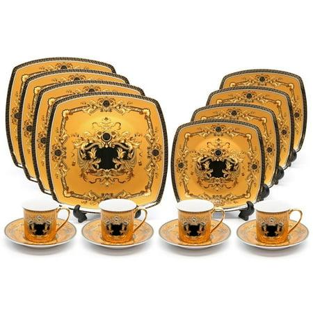 Gold Rim Porcelain - Royalty Porcelain 16-pc Luxury Yellow, Greek Key Dinner Set, 24K Gold Medusa