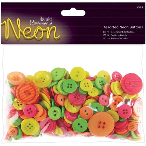 Papermania Neon Assorted Buttons, 250g