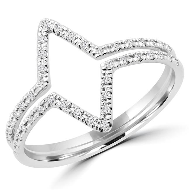 Majesty Diamonds MDR170058-7.5 0.12 CTW Round Diamond Cocktail Ring in 14K White Gold - 7.5 - image 1 de 1