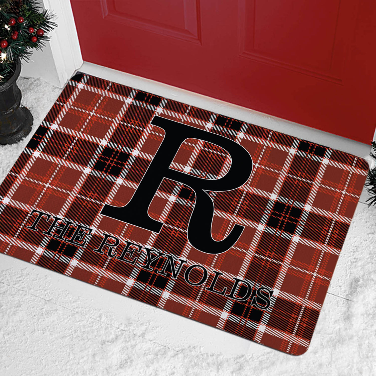 Personalized Plaid Name Doormat