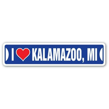 I LOVE KALAMAZOO, MICHIGAN Street Sign mi city state us wall road décor - Party City In Kalamazoo Mi