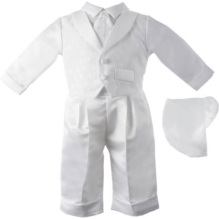 Christening Baptism Newborn Baby Boy Newborn Baby Special Occasion 3 Piece Boys Cotton Cross Dobby Vest With Satin Long Pant Comes With A Matching Hat for $<!---->