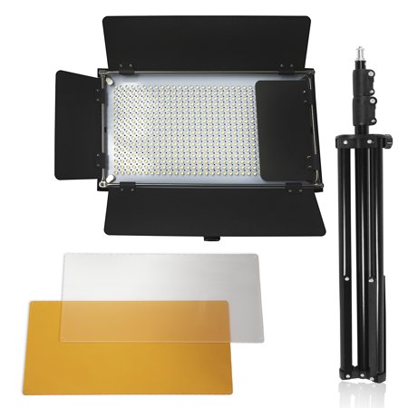 Loadstone Studio Adjustable LED Barn Door Light Panel with Light Stand Tripod, Selectable Lighting Zone and Dimmable Color Temperature Control with Gel Filters, Professional Photo Shoots, - Tri Panel 9 Light