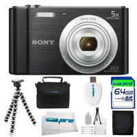 Sony Cyber-shot DSC-W800 Digital Camera (Black) + 64GB Pixi-Basic I3ePro Accessory Bundle