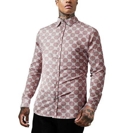 Ma Croix Men's Premium Button Down Shirt Paisley Printed Tailored Slim