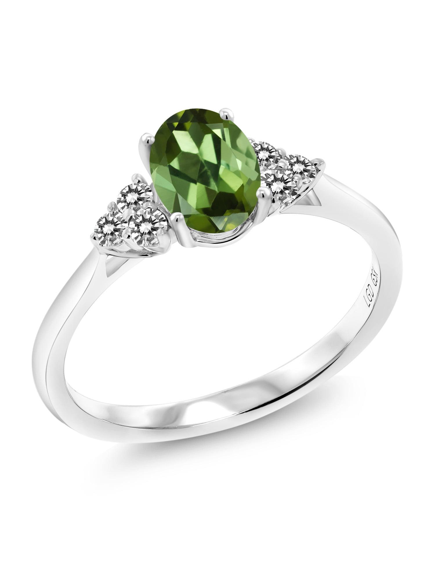 0.90 Ct Oval Green Tourmaline White Diamond 10K White Gold Ring by