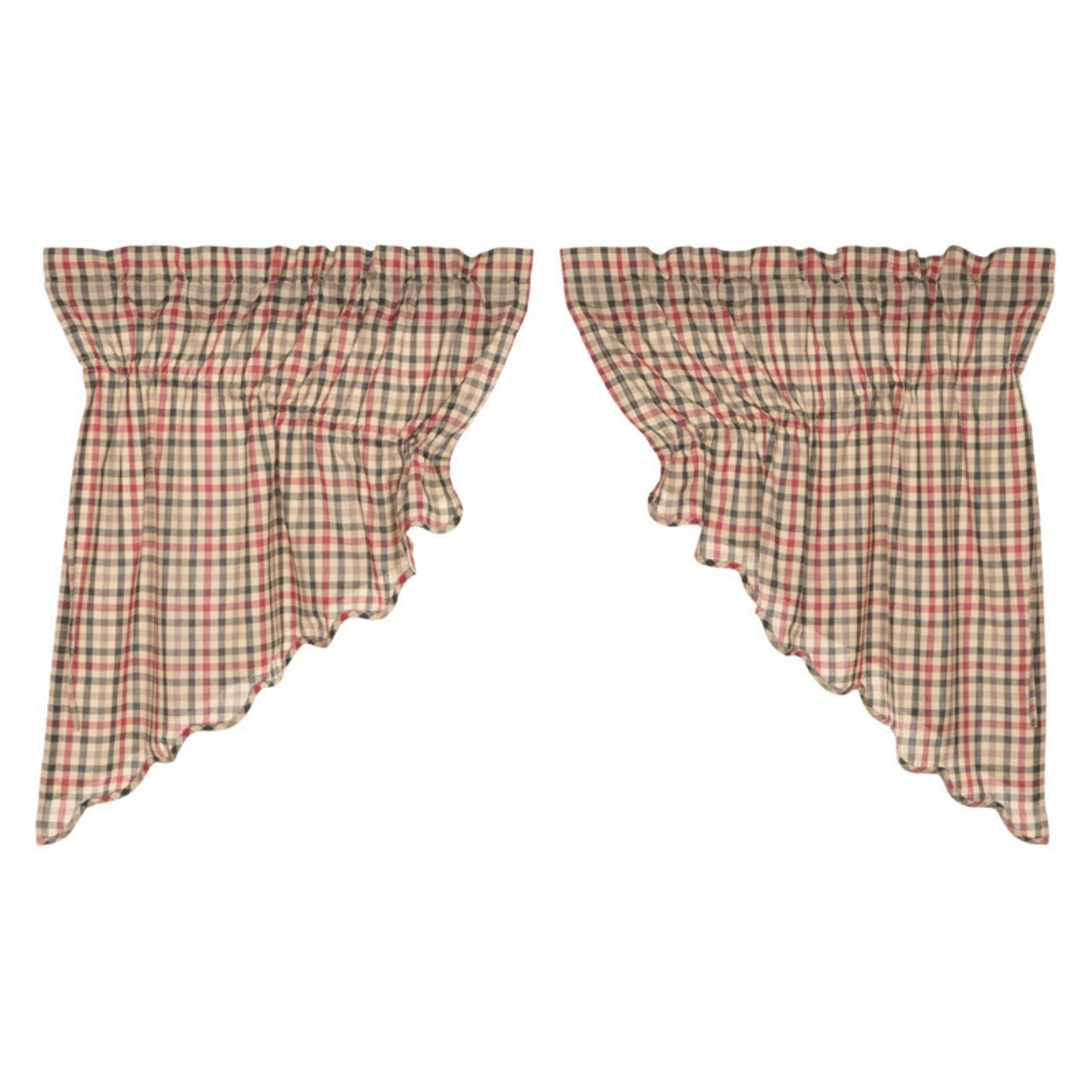 VHC Classic Country Americana Kitchen Window Curtains   Victory Scalloped  Prairie Swag Set Of 2