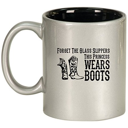 Ceramic Coffee Tea Mug Cowgirl This Princess Wears Boots (Silver) - Cowgirl Ideas To Wear