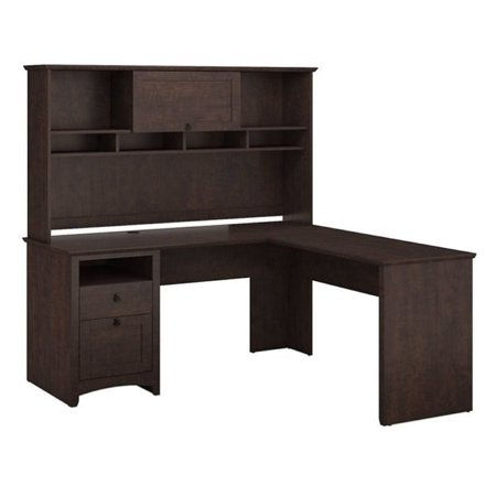 Bush Furniture Buena Vista L Shaped Desk with Hutch in Madison Cherry Bush Cherry Modular Desk