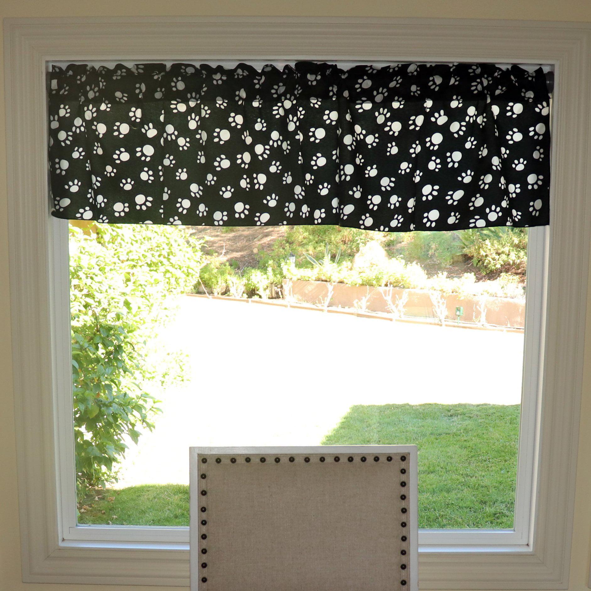 White Paws On Black Cotton Window Valance 58 Quot Wide Walmart Com Walmart Com