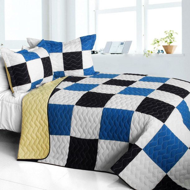 Delicate Plaid - A 3PC Cotton Vermicelli-Quilted Patchwork Plaid Quilt Set-Full/Queen Size