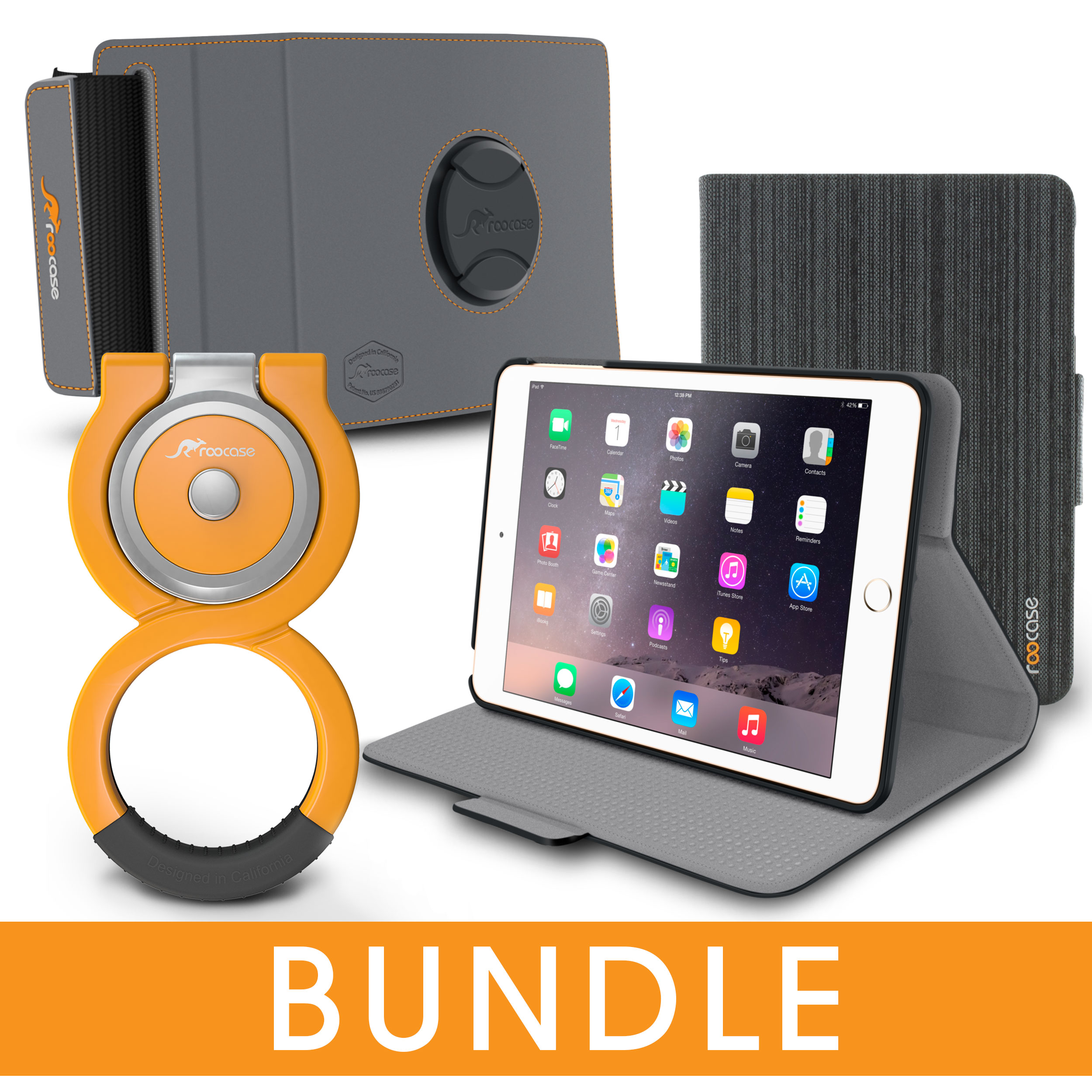 iPad Mini 3 2 1 Case, rooCASE Orb Folio 360 Rotating Leather Case with Loop Stand + Car Mount Attachment for Apple iPad Mini 3 2 1