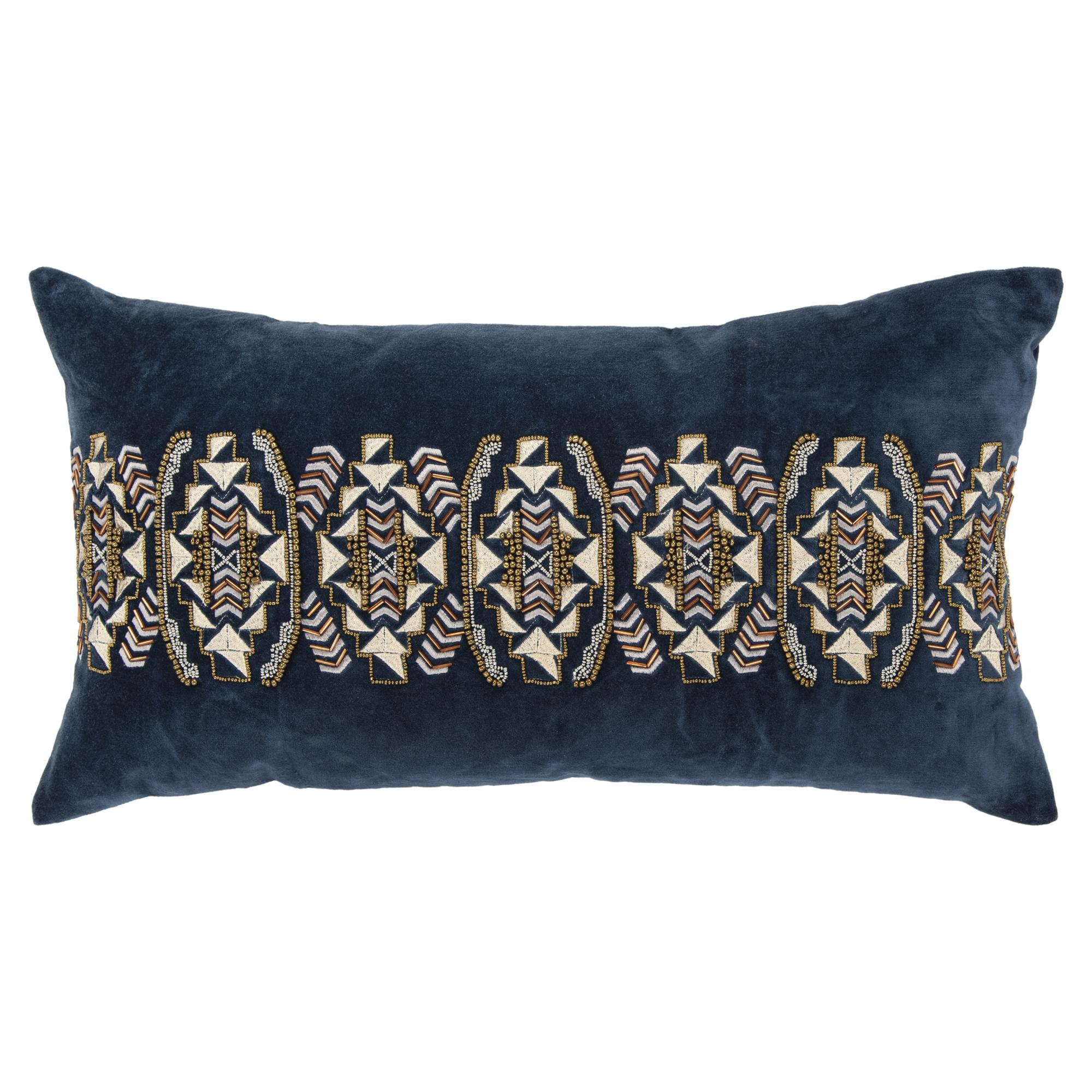 "Rizzy Home Decorative Poly Filled Throw Pillow Geometric 14""X26"" Indigo"