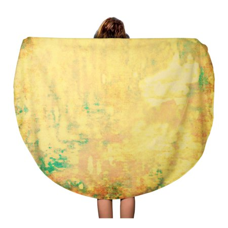SIDONKU 60 inch Round Beach Towel Blanket Colorful Solid Yellow Abstract Age Aged Ancient Antique Artistic Travel Circle Circular Towels Mat Tapestry Beach Throw