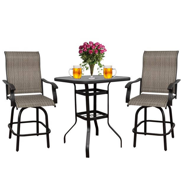 3PCS Patio Swivel Bar Set All-Weather Outdoor Furniture Height Bistro Bar Chair Table Set with 360 Degree Swivel, Suitable for Yard,Backyard and Garden
