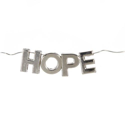 Darice Bead Sliders, Silver HOPE, 4pcs