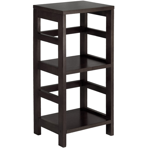 Leo Storage Open Shelf, 3-Tier, 2-Section, Narrow, Espresso