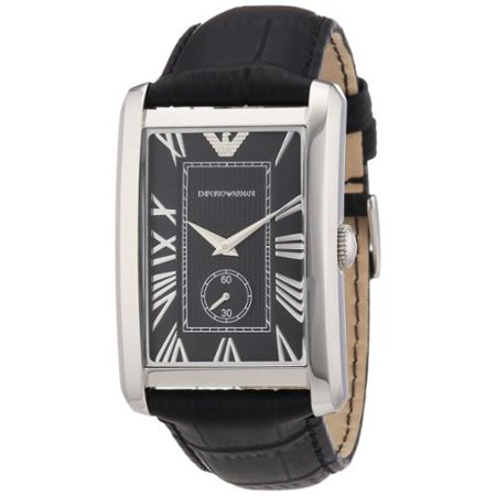 d1d1c7f6ded Emporio Armani - Armani Men s AR1604 Classic Black Leather Rectangular Watch  - Walmart.com