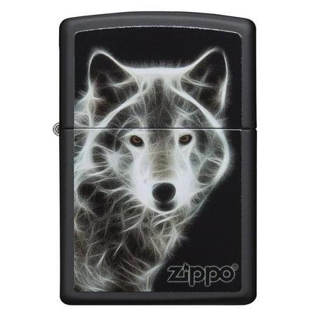 *Zippo 28303 Black Matte WHITE WOLF - Zippo Wolf