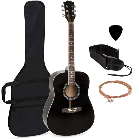 Best Choice Products 41in Full Size All-Wood Acoustic Guitar Starter Kit w/ Case, Pick, Shoulder Strap, Extra Strings - Black ()