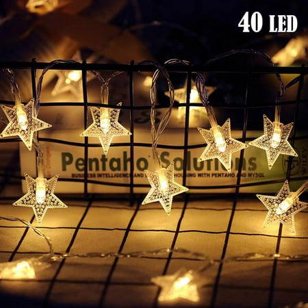 LED Star String Lights, 19.68FT 40LED Twinkle String Lights ...