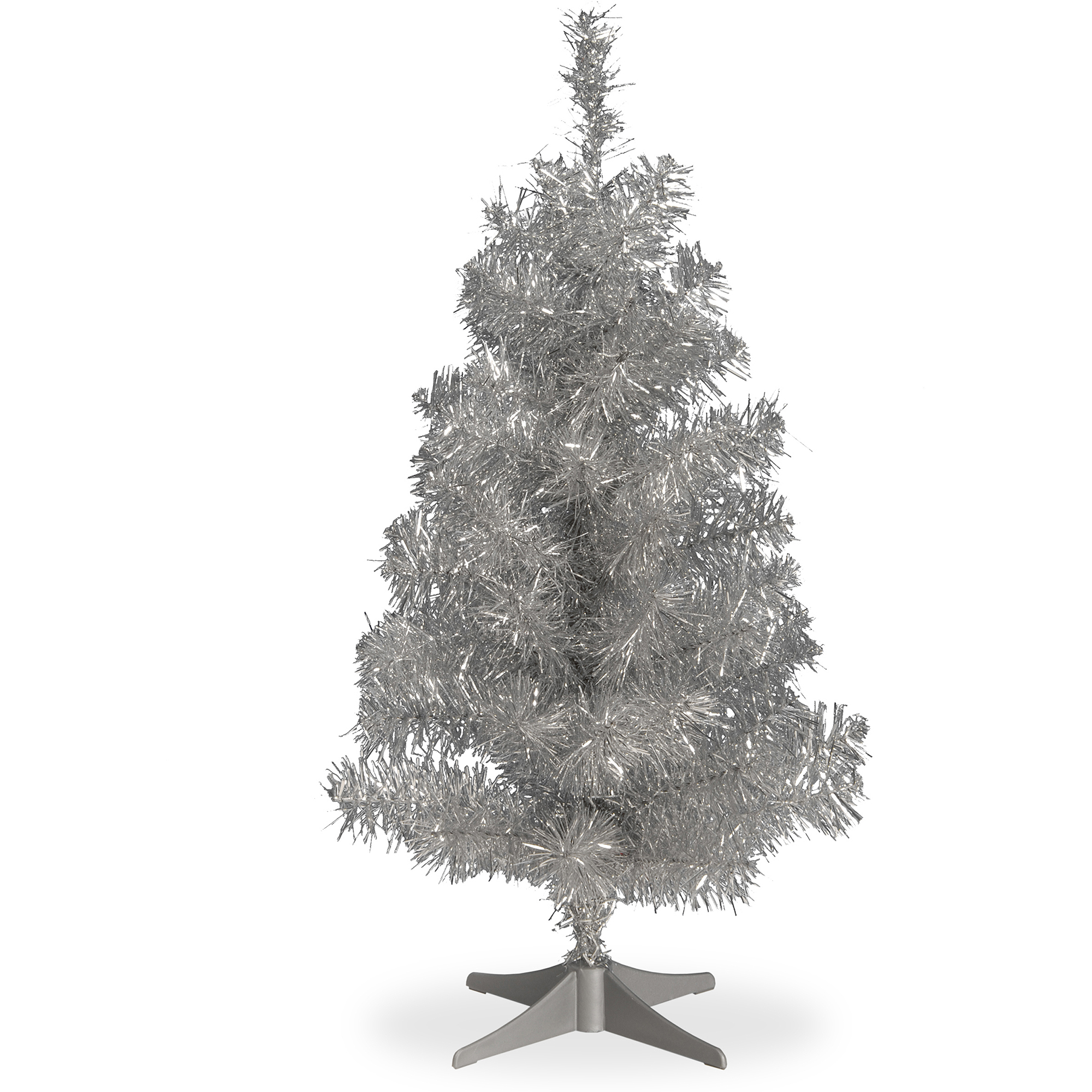 National Tree Unlit 2' Tinsel Wrapped Artificial Christmas ...