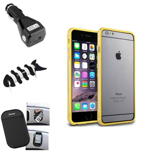 Insten Yellow TPU Bumper Rubber Skin Case Cover+Mat+Black Car Charger+Wrap For iPhone 6 Plus / 6S Plus 5.5""