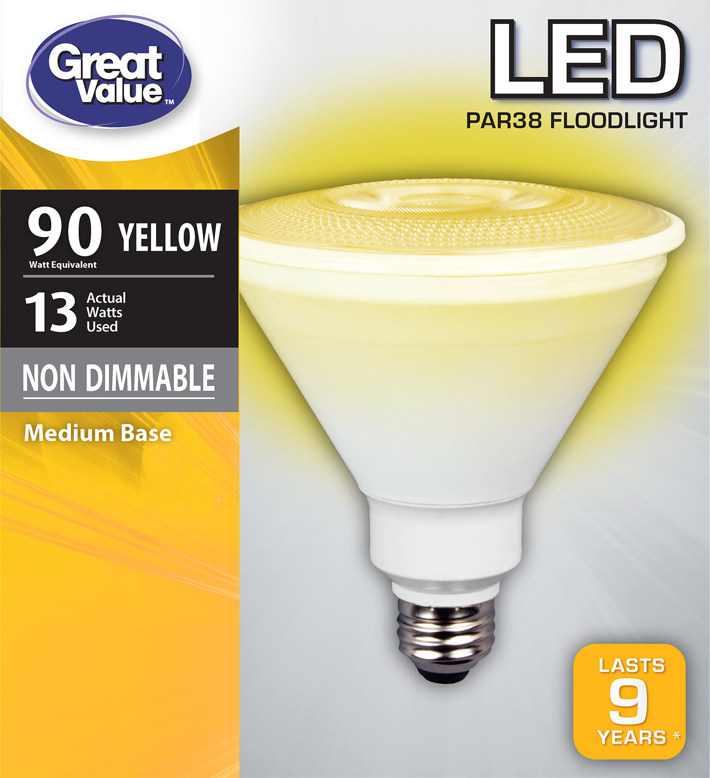 Great Value LED P38 Floodlight Light Bulb, 13W (90W Equivalent), Yellow