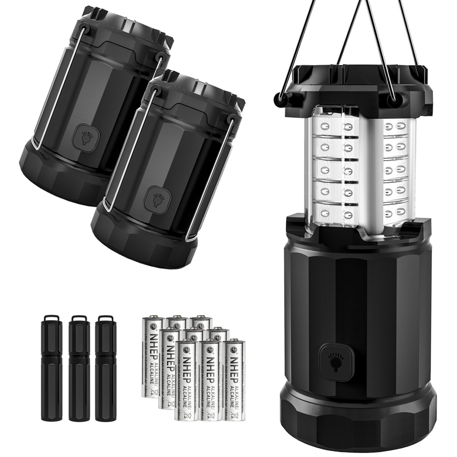 Etekcity 3 Pack LED Lantern Camping Magnetic Lights Dimmer Button Brightness Control with Batteries, Camping Gear for Hiking, Power Outage, Fishing, Storm (Collapsible, Upgraded CL30)