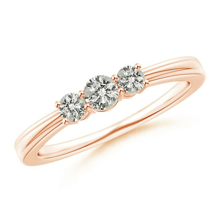 April Birthstone Ring - Step-Edged Three Stone Diamond Tapered Ring in 14K Rose Gold (3.4mm Diamond) - - 3 Stone Tapered Ring