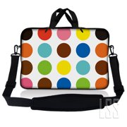 LSS 13.3 inch Laptop Sleeve Bag Carrying Case Pouch w/ Handle & Adjustable Shoulder Strap for 13.3' 13' 12.1' 12' Apple Macbook, GW, Acer, Asus, Dell, Hp, Sony, Toshiba, Polka Dots