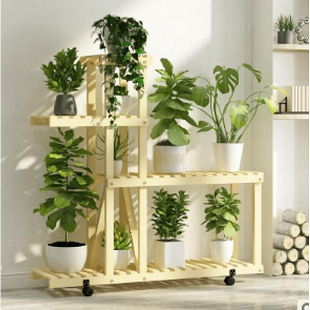 Wood Plant Stand Indoor Outdoor, Outdoor Plant Shelves