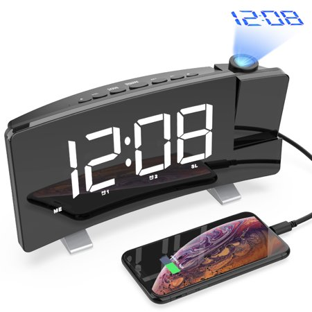 Digital Projection Alarm Clock, 7'' LED Curved Screen Dimmable FM Radio Alarm Clock, 180° Projector, USB Phone Charger, Sleep Timer, Dual Alarm, Snooze, 12/24H- Bedroom Ceiling Wall Heavy