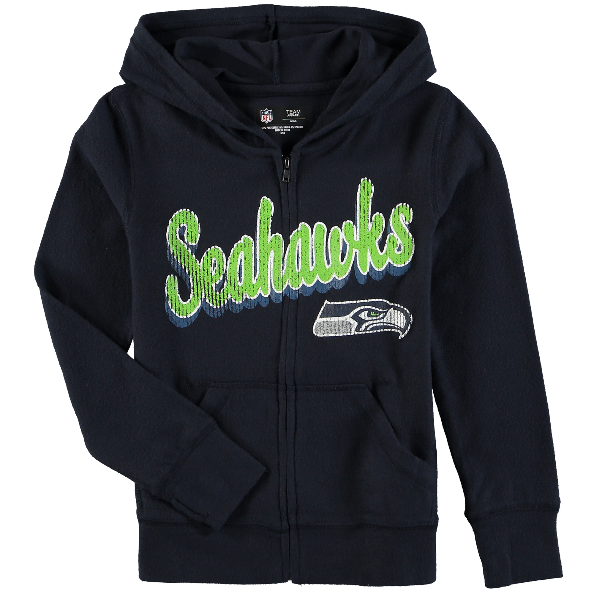 Seattle Seahawks 5th & Ocean by New Era Girls Youth Brushed Knit Tri-Blend Full-Zip Hoodie - College Navy