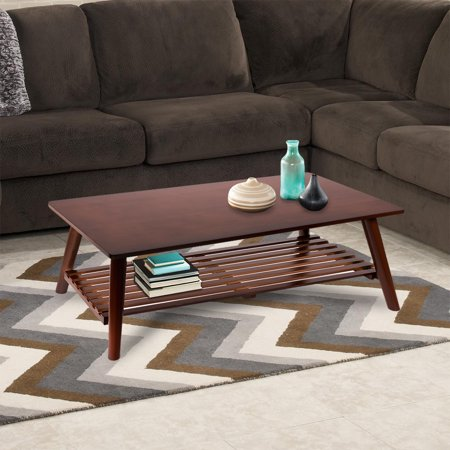 Barton Premium Folding Bamboo Wood Coffee Table 2-Tier Under Rack Storage Foldable Table Rectangular Center Table Natural Bamboo