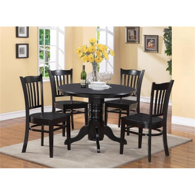 East West Furniture SHGR5-BLK-W 5 Piece Shelton Round Table and 4 Groton Chairs