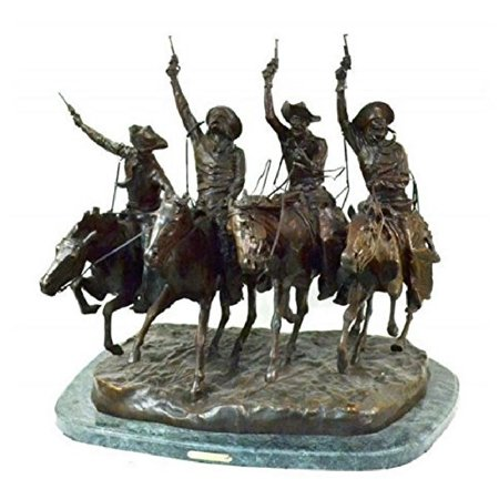 "Image of ""American Handmade 100% Bronze Sculpture Statue ""Coming through the Rye"" by Frederic Remington medium size 13.5""""H x 15.5""""L x 11""""W"""