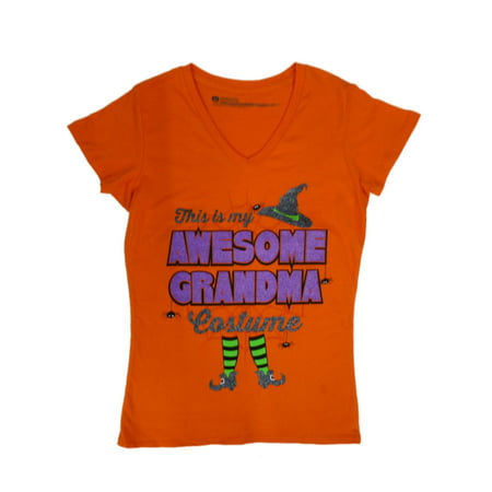 Happy Halloween Womens Orange This Is My Awesome Grandma Costume T-Shirt Shirt - Annoying Orange Happy Halloween