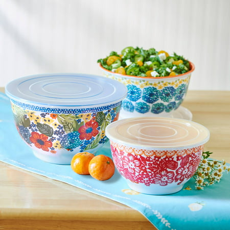 The Pioneer Woman Dazzling Dahlias Melamine 6-Piece Mixing Bowl Set with Lids