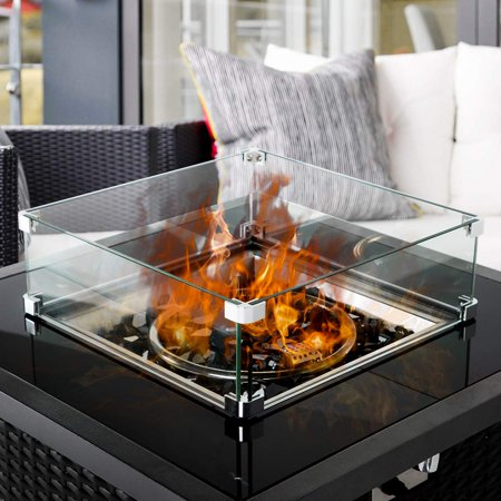 Erommy Fire Pit Tempered Glass Wind Guard Wind Resistant