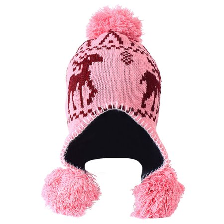 Women's Winter Fleece Lined Pom Earflap Knit Beanie Hat with Reindeer, Pink