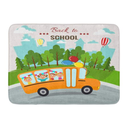 SIDONKU Building Welcome Back to School Bus Kids Happy Boy Campus Cartoon Doormat Floor Rug Bath Mat 23.6x15.7 inch (Silicone Kids Happy Mat)