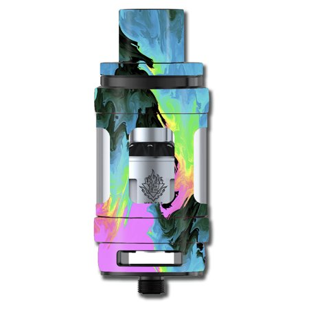 Skin Decal For Smok Tfv12 Cloud King Beast Tank Vape / Water Colors Trippy Abstract Pastel Preppy