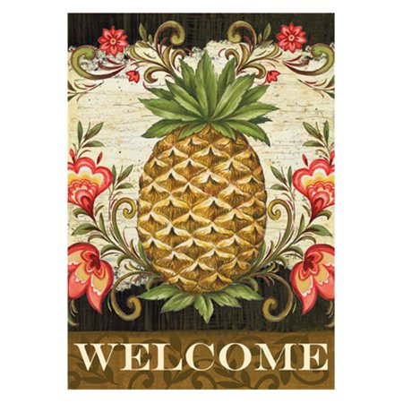 Toland Home Garden Pineapple and Scrolls Double Sided Flag BTQ4612FeaturesDurable indoor, outdoor art flags and banners are made of machine washable 100% polyester and are UV, fade, and mildew resistant to keep them flying for many seasonsFlags are printed in the USA using premium colorfast permanent dye to create colorful, vibrant, bright designs from creative, original artworkThe design is two sided with the image being visible from both sides and text appearing correctly on both sides. Artistic flags hang beautifully from a sewn-in sleeve and itâ s easy to switch out their seasonal flag designs using Tolandâ s standard line of flag poles, flag pole bracket, stands, arbors, and hangers. Floral themed flags are perfect to welcome your guest and friends, they are also great gifts for any deck, patio, porch or veranda and make charming decorative statements for any backyard, lawn or gardenCountry of Manufacture: United StatesPrimary Pattern: FlowerMaterial: Polyester/Polyester blendColor: Beige/Brown/Pink