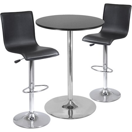 High Back Airlift Adjustable 3 Piece Pub Set with Larger Table, Black and Chrome (Point Black Chrome 3 Piece)