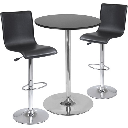 High Back Airlift Adjustable 3 Piece Pub Set with Larger Table, Black and Chrome