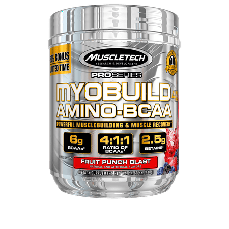 Pro Series Myobuild BCAA Amino Acids Supplement, Muscle Building and Recovery Formula with Betaine & Electrolytes, Fruit Punch Blast, 36 Servings (Monster Amino Fruit Punch)